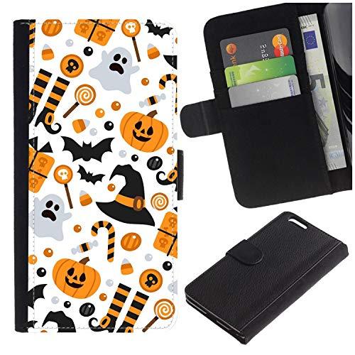 [Halloween?Pumpkin] for LG Aristo/LG Phoenix 3 / K8 2017 / Fortune/Risio 2 / K4 2017 / V3, Flip Leather Wallet Holsters Pouch Skin Case ()