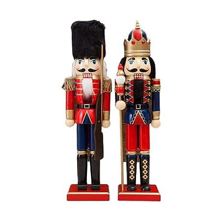 Hutiee 2er Set Nussknacker Holz Spielzeug Puppe 38cm Nussknacker