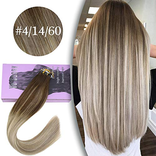 VeSunny Tape Hair Extensions Remy Human Hair Balayage 20inch Ombre #4 Dark Brown Root to #14 Golden Blonde Mixed #60 Platinum Blonde Seamless Hair Extensions Tape ins 20pcs 50G (Dark Brown Hair To Medium Golden Brown)