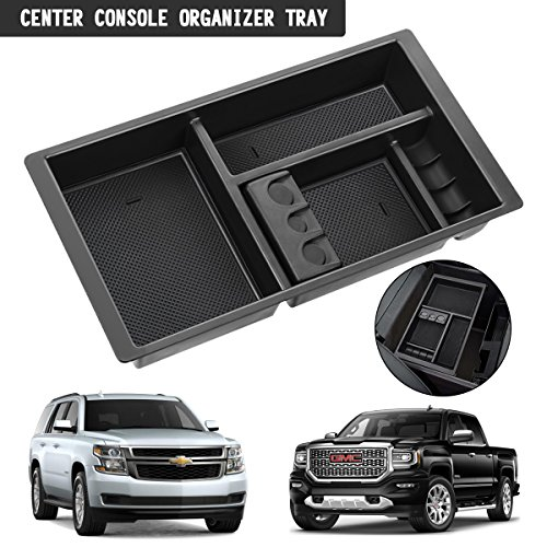 Audew Center Console Organizer Tray for Chevy Silverado GMC Sierra Yukon (2015-2018)-GM Vehicles Accessories - Car Insert Organizer Tray Secondary Storage Organizer (Full Console w/Bucket Seats ONLY)