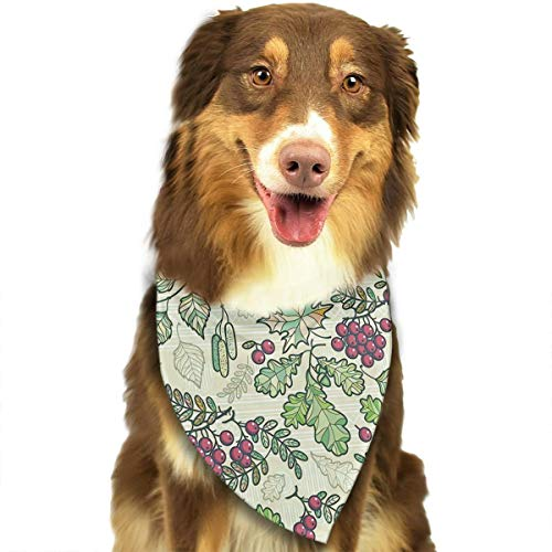 Dog Bandana Maple Birch Oak Autumn Leaves and Ashberries Pet Scarf Pet Dog Bandanas Washable Triangle Dog Scarf,Pet Accessories