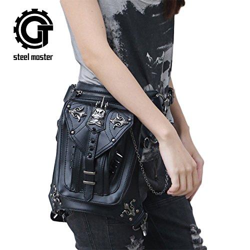 Steel Master Steampunk Skull Rivets Hüfttaschen für Damen Herren Punk PU Leder Bauchtasche Taschen