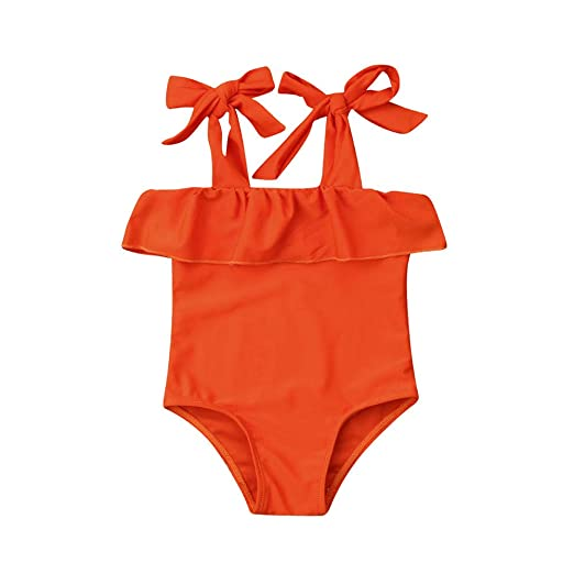 3f019e88c5 Hwaikun Baby Girl Swimsuit One-Piece Bathing Suit Orange Tankini Toddler  Bikini Bowknot Swimwear Cute