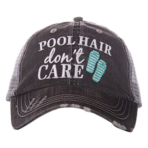 Pool Hair Don't Care Women's Distressed Grey Trucker Hat (Mint Flip ()