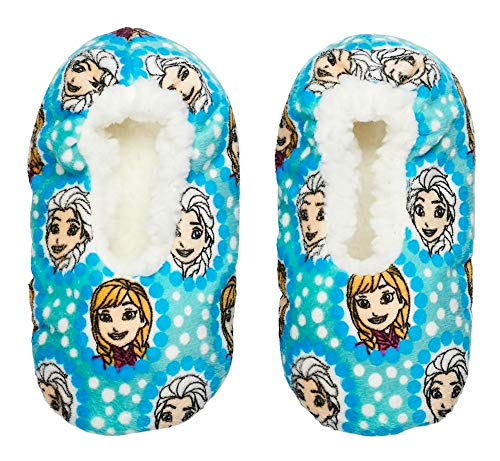 Disney Frozen Toddler Girls' Fuzzy Babba Slipper Socks (Shoe Size: 8-10)
