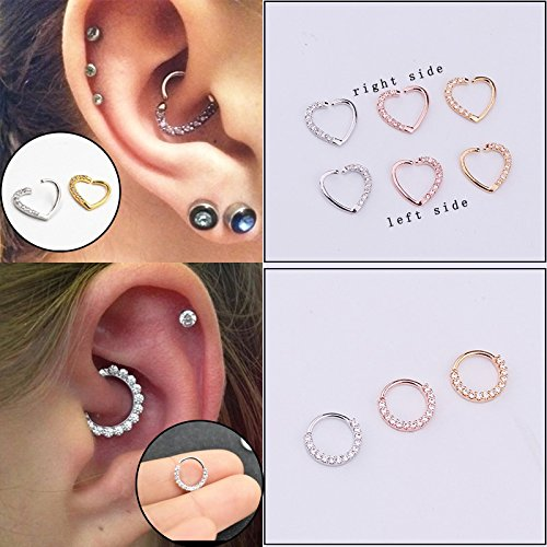 shoppingmal New arrival 1piece Gold Plated Shine CZ Heart & Circle Body Piercing Jewelry Hoop Earring Helix Tragus Daith Cartilage Piercing