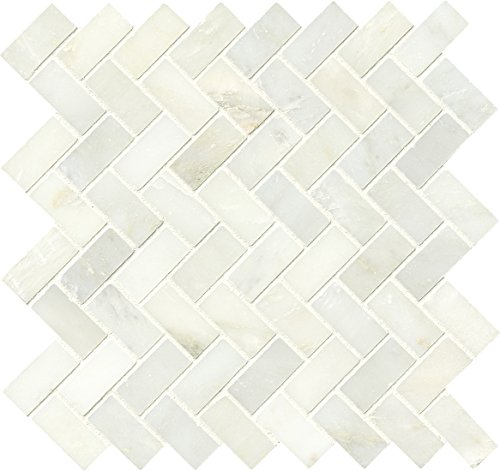 M S International Arabescato Carrara Herringbone Pattern 11.63 In. X 11.63 In. X 10 mm Polished Marble Mesh-Mounted Mosaic Tile, (8.9 sq. ft, 10 pieces per case) by MS International