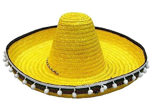 [Yellow Sombrero Hat W Tassels Dress Up Fiesta Party Hats Costume Mexico Caps] (Deluxe Pink Gorilla Costumes)