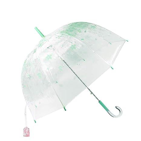 Paraguas Transparente, BeuatyPO Paraguas romántico Verde Cereza con Mango Cristal, Clear Bubble Windproof,