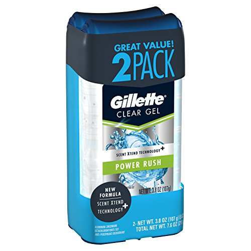Gillette Sport High Performance Antiperspirant / Deodorant Power Rush Clear Gel, 3.8 Ounce (Twin Pack) Packaging may Vary