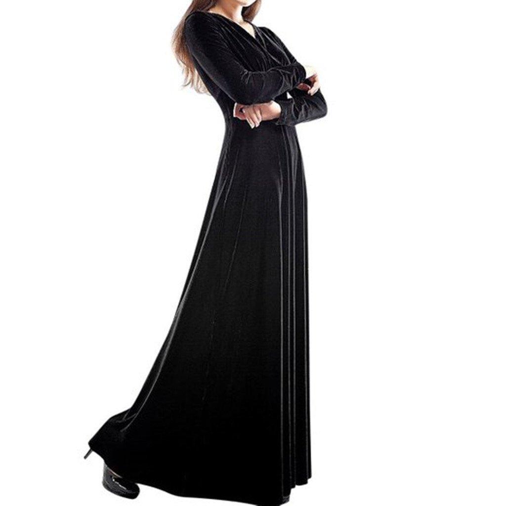 YILIA Womens V-neck Long Sleeve Velvet Stretchy Maxi Dress Black: Amazon.co.uk: Clothing