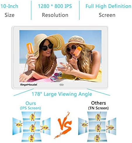 10 Inch Digital Photo Frame, RegeMoudal Digital Frame with High Resolution 1280800 IPS LCD Panel Support 128G SD Card USB Stick Various Display Modes 1080P Video Photo Calendar Time Music White