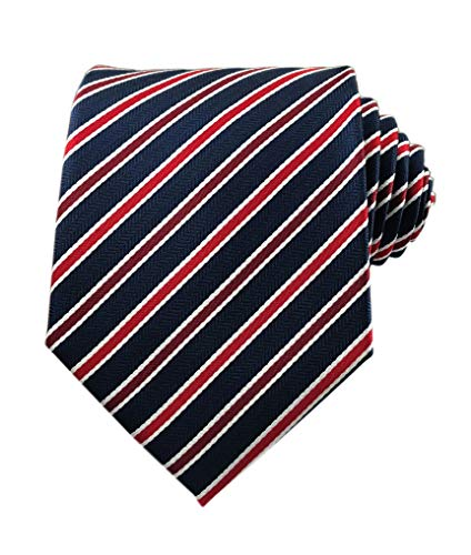 Secdtie Men's Narrow Stripe Pattern Tie Navy Blue Red White Party Necktie TW06