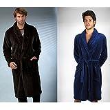 Massana - Mens Velvet Robe MASSANA Soft Winter Nightwear Warm Dressing Gown Brown/Blue -