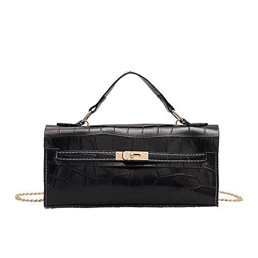 e50dbc8f16a Amazon.com: JJLIKER Women Twist Lock Handbags Tote Chain Bag Crossbody  Shoulder Messenger Pack Fashion Long Wallet Satchels Black: Clothing
