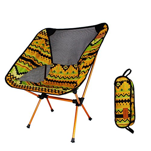 Coohole Ultralight Portable Folding Camping Backpacking Chairs with Carry Bag (Yellow) (Bedside Futon Table)