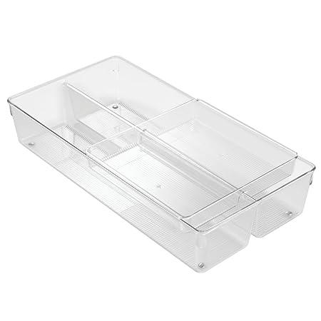 InterDesign - Linus - Organizador de 2 niveles, para cajón; Para guardar cubiertos, utensilios, cosméticos, artículos de oficina - Claro: Amazon.es: Hogar