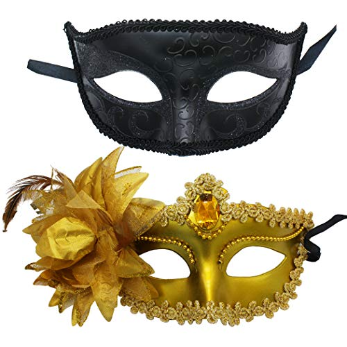 2 Pack Couple's Masquerade Mask Set Venetian of Realistic Silicone Masquerade Half face Mask (Black- Plastic Gold) -