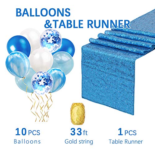 12 by 108 Inch wedding sequin table runner 1PCS Aqua Blue Sparkly sequin tablerunner Confetti Balloons and blue Latex Balloons Sequin Table Cloths Valentines Day Table Sequin Linens Christmas -