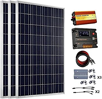 Eco Worthy 300 Watts 3pcs 100 Watt Solar Panel Kit With 20a Lcd Charge Controller 1kw Off Grid Power Inverter Amazon Co Uk Car Motorbike