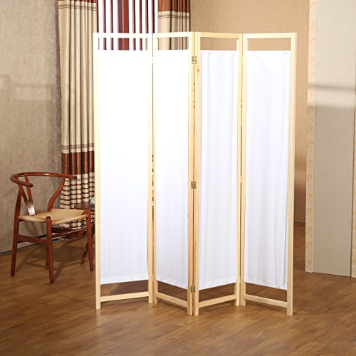 Natural Wood & White Fabric 4 Panel Partition Screen / Freestanding Hinged Privacy Room Divider - MyGift Fabric Room Dividers