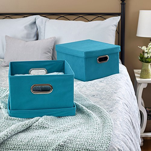 household essentials fabric storage boxes with lids and handles aqua set of ebay. Black Bedroom Furniture Sets. Home Design Ideas