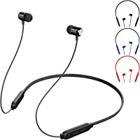 Wallfire Bluetooth Headphones, Bluetooth V4.2 Sports in Ear headphones Mega Bass Magnetic Neckband Wireless Earbuds with Mic (Color : Black)