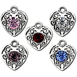 Housweety 50 Mixed Rhinestone Love Heart Charm Pendants 12x10mm