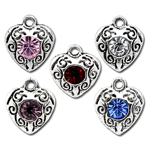 Housweety 50 Mixed Rhinestone Love Heart Charm Pendants 12x10mm Wholesale Rhinestone Necklaces