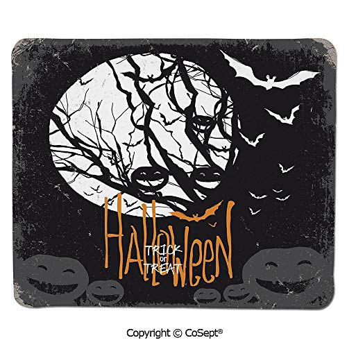 Premium-Textured Mouse pad,Halloween Themed Image with Full Moon and Jack o Lanterns on a Tree Decorative,Water-Resistant,Non-Slip Base,Ideal for Gaming (11.81