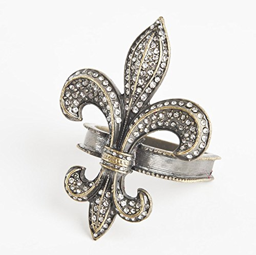 - Fennco Styles Bejeweled Fleur-de-Lis Design Napkin Ring-Set of 4