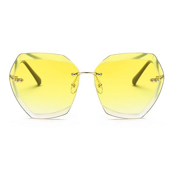 kimorn Gafas De Sol Para Mujer Sobredimensionado Sin Aros Lente De Corte De Diamante Clásico AE0534