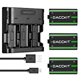 DACCKIT 2500mAh Rechargeable Batteries(3-Pack) with 3-Channel Charger for Xbox One X, Xbox One S, Xbox One Elite Wireless Controller