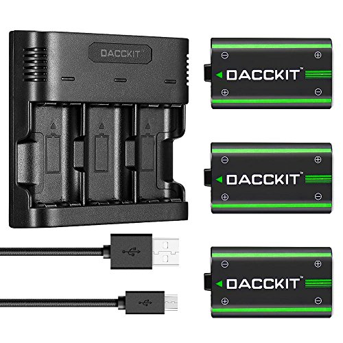 DACCKIT 2500mAh Rechargeable Batteries(3-Pack) with 3-Channel Charger Compatible with Xbox One X, Xbox One S, Xbox One Elite Wireless Controller