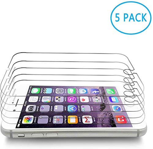 [5 Pack] Screen Protector Compatible with iPhone 8, iPhone 7, iPhone 6S, iPhone 6, Tempered Glass Screen Protector, 4.7 inch, 3D Touch, Anti-Scratch