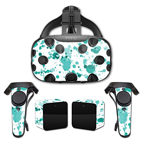 MightySkins Skin For HTC Vive Full Coverage - Teal Splatter | Protective, Durable, and Unique Vinyl Decal wrap cover | Easy To Apply, Remove, and Change Styles | Made in the USA by MightySkins