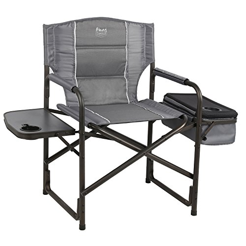 Timber Ridge Laurel Director's Chair with Cooler Bag & Side Table, Grey (Outdoor Chairs Directors)