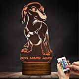Dachshund 3D Night Light Glowing LED Desk Lamp Custom Name Indoor Home Decor Art Design Lamp 16 Colors Changing with Remote Controller