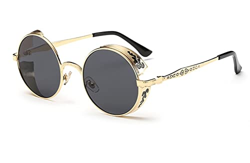 73fff6a9f7 GAMT Retro Hippie Circle Sunglasses Round Metal Frame for Men and Women  Gold Frame Grey Lens