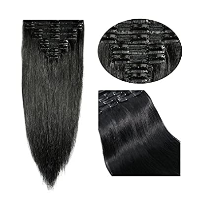 10-22inch Double Weft 100% Remy Human Hair Clip in Extensions Grade 7A Quality Full Head Thick Long Soft Silky Straight 8pcs 18clips for Women Fashion