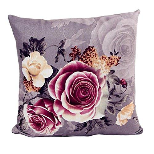 "Mallcat Printing Peony Sofa Bed Home Decor Pillow Case 45cm*45cm/18*18"" (Gray)"