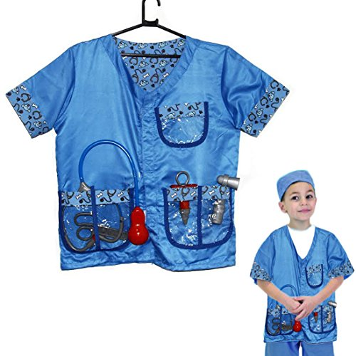 Dazzling Toys Christmas Costume Doctor Set Kids Pretend Play Veterinarian Costume Set with Medical Kit Doctor Accessories]()