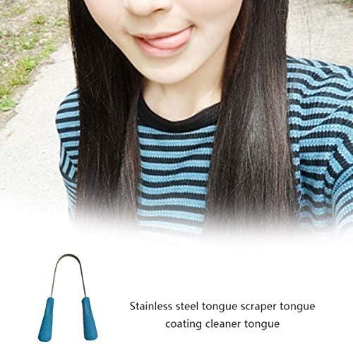 Greatangle Edelstahl-Zungenschaber-Reiniger Frische Reinigung Beschichtete Zungen-Zahnbürste Zahnpflegeprodukte für die Mundhygiene Blue