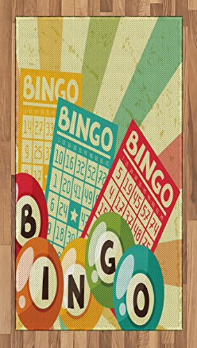 Ambesonne Vintage Area Rug, Bingo Game with Ball and Cards Pop Art Stylized Lottery Hobby Celebration Theme, Flat Woven Accent Rug for Living Room Bedroom Dining Room, 2.6 x 5 FT, Multicolor by Ambesonne