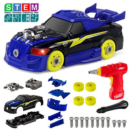 (Take Apart Racing Car Toys with Drill Tool, STEM 26 Pieces Racing Car Toy Kit Vehicle Assembly Set with Lights & Engine Sounds, Building Your Own Car Toy Set Gifts)