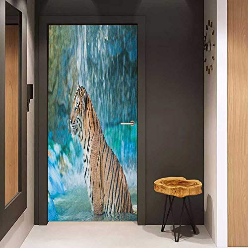 Onefzc Wood Door Sticker Tiger Feline Beast in Pond Searching for Prey Sumatra Indonesia Scenes Easy-to-Clean, Durable W23 x H70 Turquoise Pale Brown Black