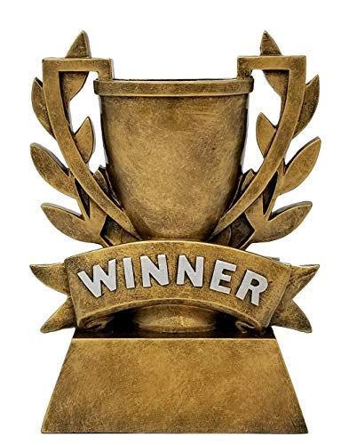 Winner Cup Trophy  | Gold Laurel Wreath Winners Cup Award | 6 Inch Tall - Free Engraved Plate on Request - Decade Awards
