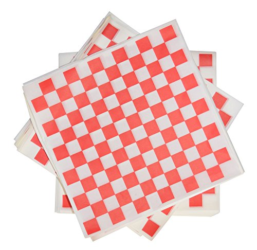 1000 Sheets of Red and White Checkered, Grease - Resistant, Basket Liners / Deli Paper ()