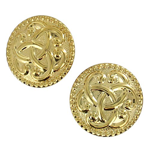 Shiny Earrings Celtic - Large Gold Tone Shiny Smooth Celtic Knot Dotted Curved Disc Clip Earrings 1 3/4