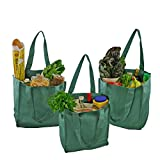 Simple Ecology Organic Cotton Deluxe Reusable Grocery Bag with Bottle Sleeves - Green (3 Pack)